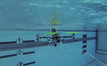 Drone che vola e nuota. Close-up Engineering