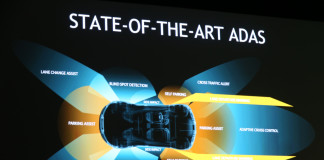 Nvidia al CES 2016, Rappresentazione dei sensori di una automobile con pilota automatico. Close-up Engineering
