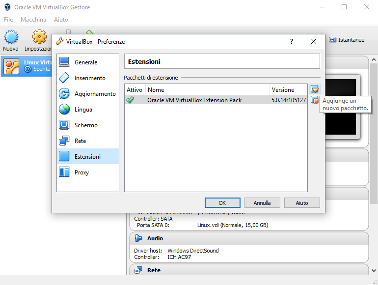 VirtualBox, installazione dell'Extension Pack. Close-up Engineering