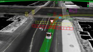 Google Car traccia la strada in un incrocio. Close-up Engineering