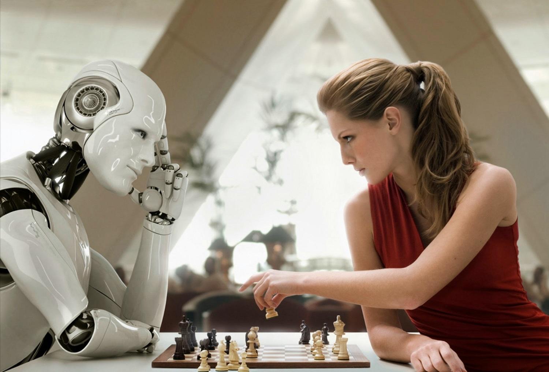 Uomo contro robot in una partita a scacchiUomo contro robot in una partita a scacchi