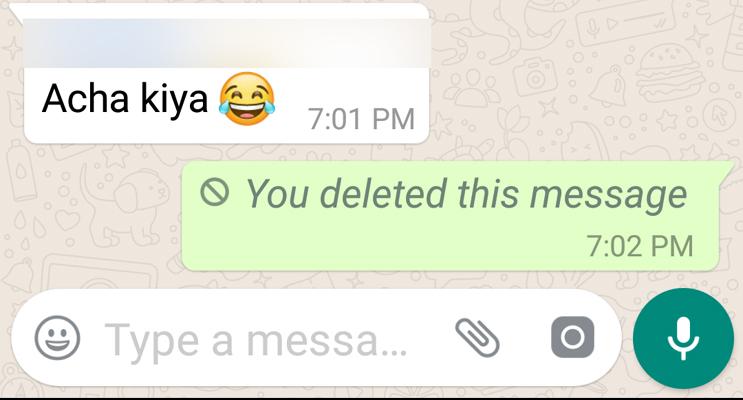 Conferma di cancellazione del messaggiosu WhatsApp